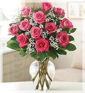 Roses rose flower arrangements by le jardin florist 1 dz premium long stem pink roses arrangement mightylinksfo