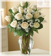 1 Dz Premium Long Stem White Roses Arrangement
